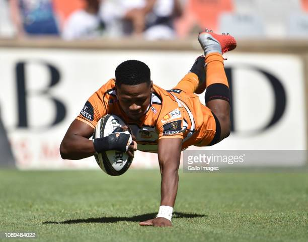 Malcolm Jaer of the Toyota Cheetahs during the Guinness Pro14 match between Toyota Cheetahs and Zebre at Toyota Stadium on January 26 2019 in...