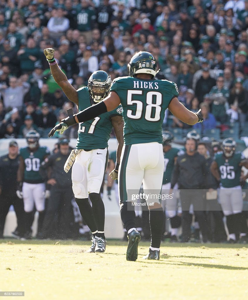 Malcolm Jenkins #27 and Jordan Hicks #58 of the Philadelphia Eagles react against the Atlanta Falcons at Lincoln Financial Field on November 13, 2016 in Philadelphia, Pennsylvania. The Eagles defeated the Falcons 24-15.