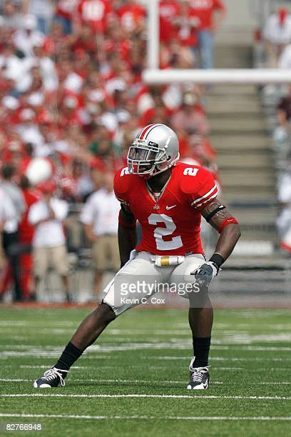 Malcolm Jenkins of the Ohio State Buckeyes moves on the field during the game against the Ohio Bobcats at Ohio Stadium on September 6, 2008 in...