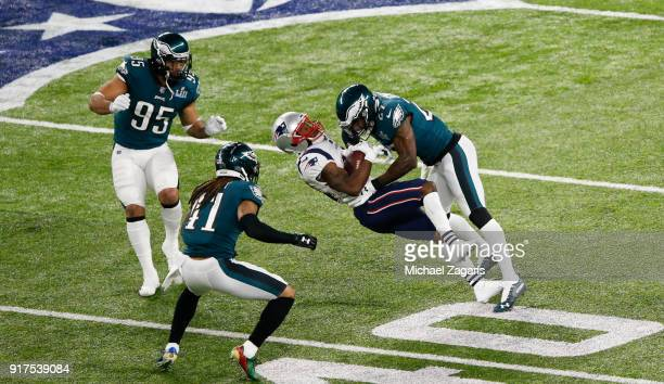 Malcolm Jenkins of the Philadelphia Eagles beaks up a pass while knocking down Brandin Cooks of the New England Patriots in Super Bowl LII at US Bank...