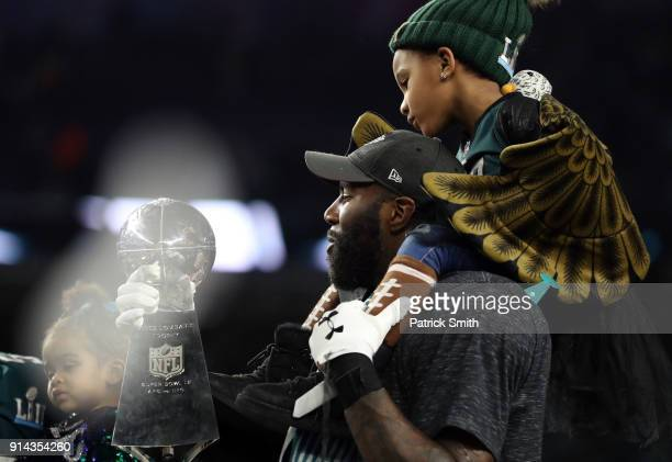 Malcolm Jenkins of the Philadelphia Eagles kisses the Vince Lombardi Trophy after defeating the New England Patriots 4133 in Super Bowl LII at US...