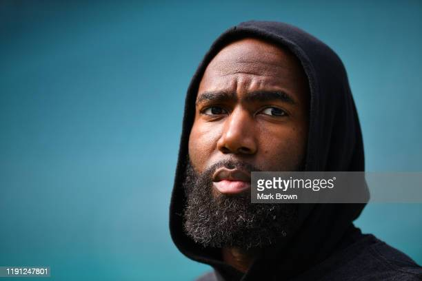 Malcolm Jenkins of the Philadelphia Eagles looks on prior to the game Miami Dolphins at Hard Rock Stadium on December 01 2019 in Miami Florida
