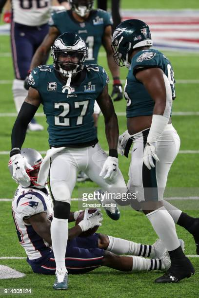 Malcolm Jenkins of the Philadelphia Eagles reacts after an incomplete pass to Brandin Cooks of the New England Patriots during the first quarter in...