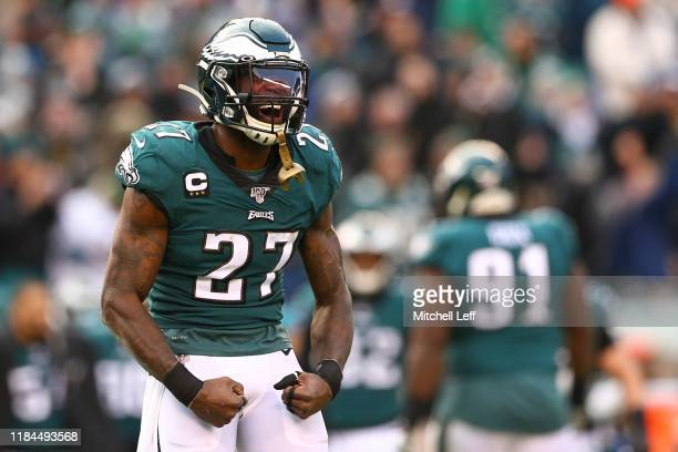 Malcolm Jenkins of the Philadelphia Eagles reacts against the Seattle Seahawks in the second half at Lincoln Financial Field on November 24 2019 in...