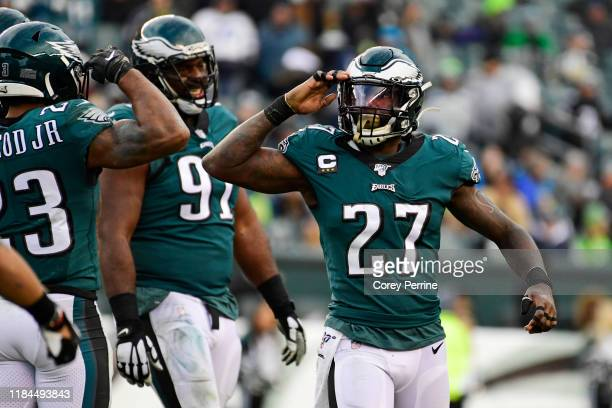 Malcolm Jenkins of the Philadelphia Eagles salutes teammate after a sack Rodney McLeod during the fourth quarter at Lincoln Financial Field on...