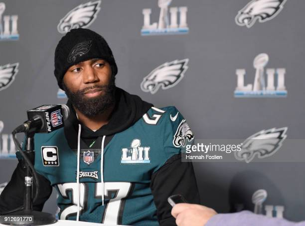 Malcolm Jenkins of the Philadelphia Eagles speaks to the media during Super Bowl LII media availability on January 31 2018 at Mall of America in...