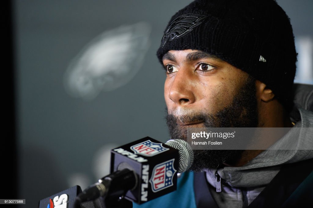 Malcolm Jenkins #27 of the Philadelphia Eagles speaks to the media during Super Bowl LII media availability on February 1, 2018 at Mall of America in Bloomington, Minnesota. The Philadelphia Eagles will face the New England Patriots in Super Bowl LII on February 4th.