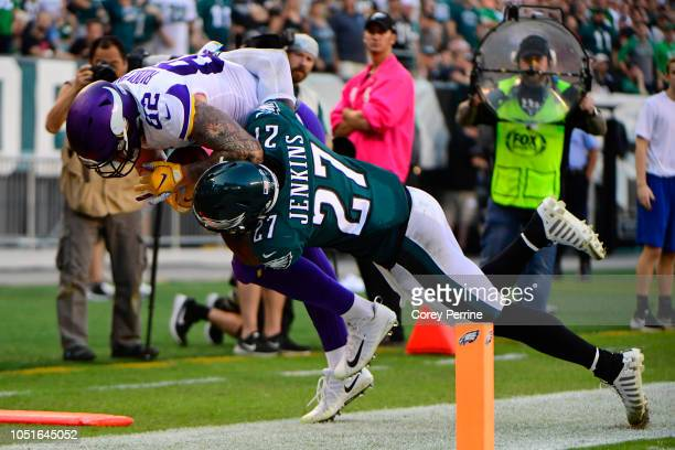 Malcolm Jenkins of the Philadelphia Eagles tackles Kyle Rudolph of the Minnesota Vikings during the fourth quarter at Lincoln Financial Field on...