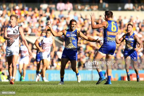 Malcolm Karpany of the Eagles celebrates a goal during the round 10 AFL match between the West Coast Eagles and the Greater Western Giants at Domain...
