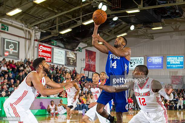 Malcolm Lee of the Delaware 87ers takes a shot against the Maine Red Claws on November 23 2014 at the Portland Expo in Portland Maine NOTE TO USER...