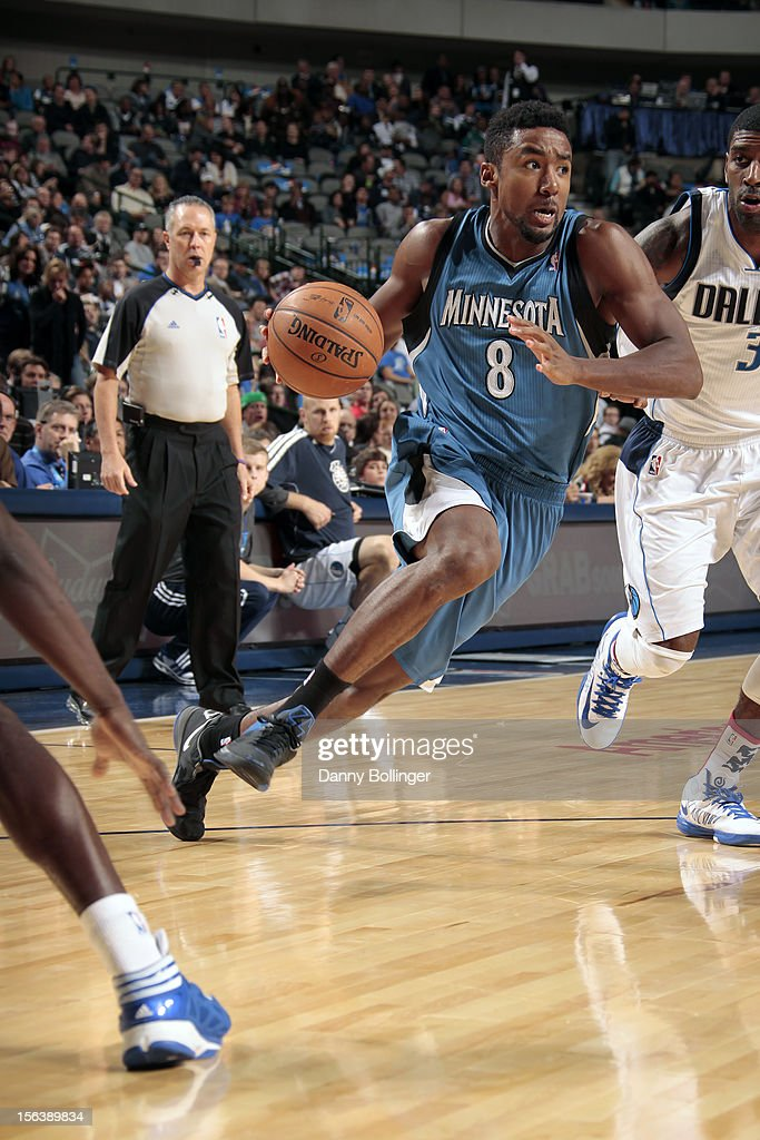 Malcolm Lee #8 of the Minnesota Timberwolves drives to the basket against the Dallas Mavericks on November 12, 2012 at the American Airlines Center in Dallas, Texas.