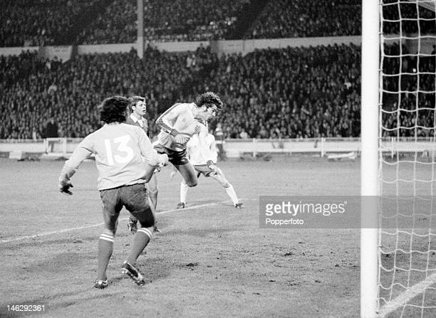 Malcolm Macdonald of England scores his fifth goal of the match with a header in the 87th minute during the European Championship Qualifying match...