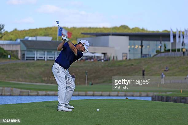 Malcolm Mackenzie of England in action during the first round of the Paris Legends Championship played on L'Albatros course at Le Golf National on...