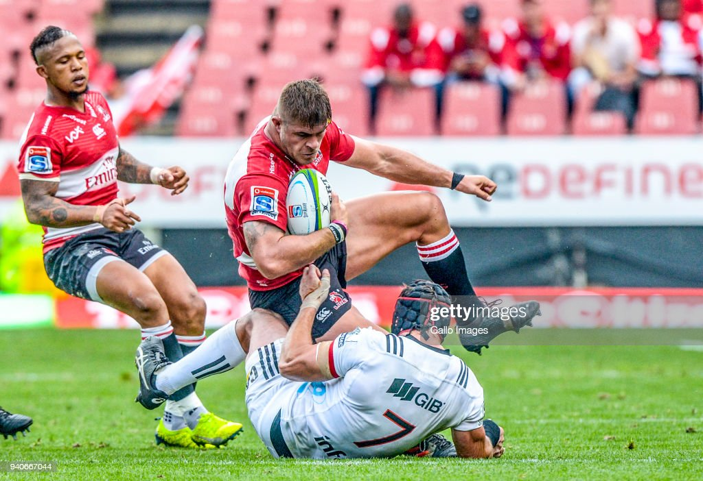 Malcolm Marks of the Lions and Matthew Todd of the Crusaders during the Super Rugby match between Emirates Lions and Crusaders at Emirates Airline Park on April 01, 2018 in Johannesburg, South Africa.