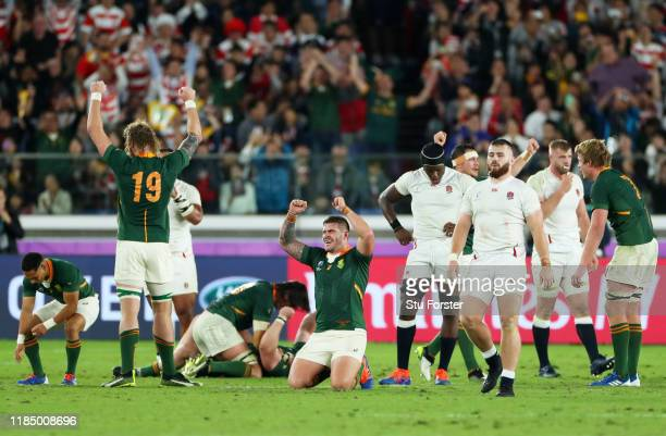 Malcolm Marx of South Africa celebrates victory after the Rugby World Cup 2019 Final between England and South Africa at International Stadium...
