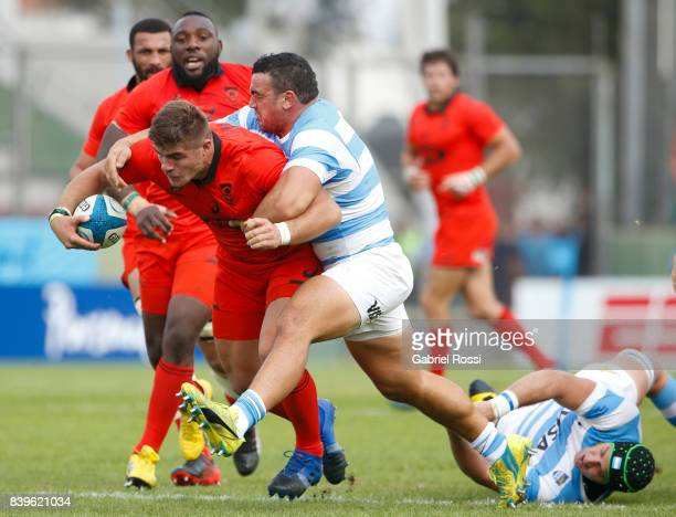 Malcolm Marx of South Africa is tackled by Agustin Creevy of Argentina during the round two match between Argentina and South Africa as part of The...