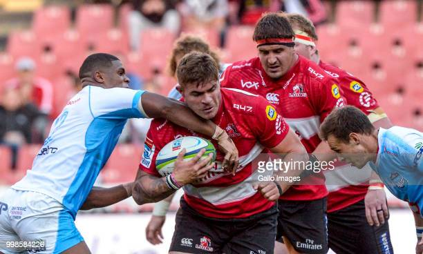 Malcolm Marx of the Lions during the Super Rugby match between Emirates Lions and Vodacom Bulls at Emirates Airline Park on July 14 2018 in...