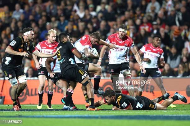 Malcolm Marx of the Lions makes a break during the round 10 Super Rugby match between the Chiefs and the Lions at FMG Stadium on April 19 2019 in...