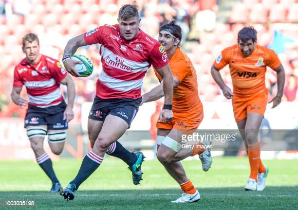 Malcolm Marx of the Lions on the way to score a try during the Super Rugby quarter final match between Emirates Lions and Jaguares at Emirates...