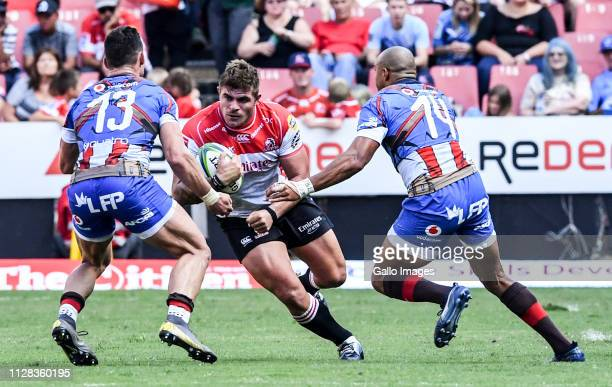 Malcolm Marx of the Lions with possession during the Super Rugby match between Emirates Lions and Vodacom Bulls at Emirates Airline Park on March 02...