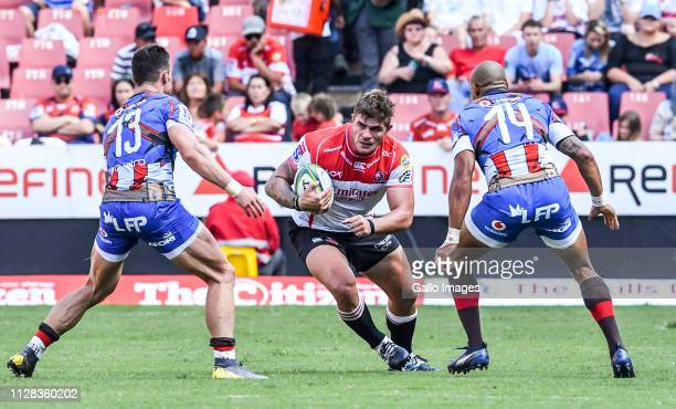 Malcolm Marx of the Lions with possession during the Super Rugby match between Emirates Lions and Vodacom Bulls at Emirates Airline Park on March 02,...