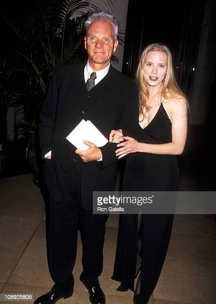 Malcolm McDowell and Kelley Kuhr during 49th Annual Writers Guild Awards at Beverly Hilton Hotel in Beverly Hills California United States