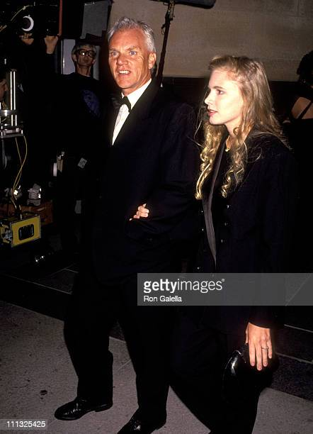 """Malcolm McDowell and Kelley Kuhr during """"The Player"""" Los Angeles Premiere at LA County Museum of Art in Los Angeles, California, United States."""