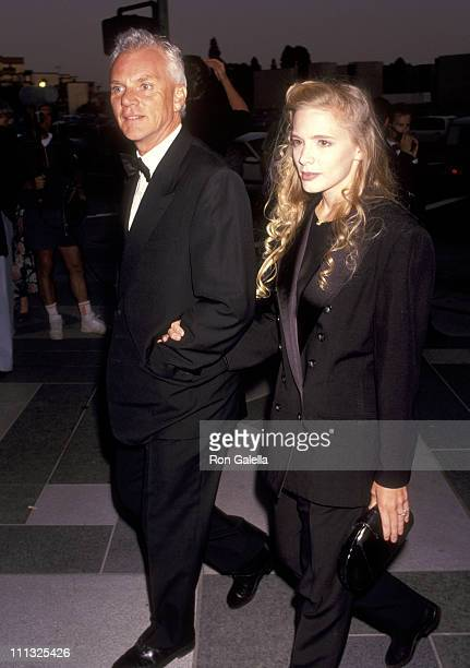 Malcolm McDowell and Kelley Kuhr during The Player Los Angeles Premiere at LA County Museum of Art in Los Angeles California United States