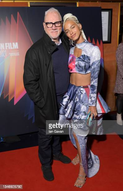 """Malcolm McDowell and Kota Eberhardt attend the """"She Will"""" UK Premiere during the 65th BFI London Film Festival at The Curzon Mayfair on October 16,..."""