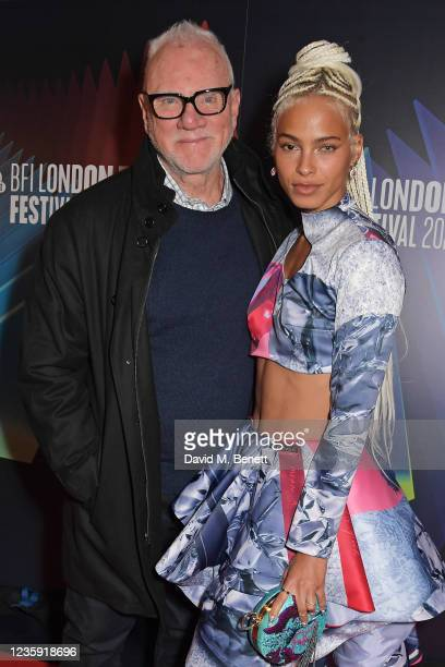 """Malcolm McDowell and Kota Eberhardt attend the UK Premiere of """"She Will"""" during the 65th BFI London Film Festival at the The Curzon Mayfair on..."""