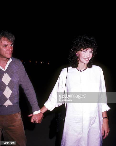 Malcolm McDowell and Mary Steenburgen during Malcolm McDowell and Mary Steenburgen Sighting at Spago April 26 1983 at Spago in Los Angeles California...