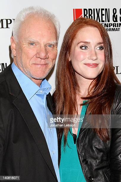 Malcolm McDowell and Paige Howard arrive to the The Employer Los Angeles Premiere at Regent Showcase Theatre on March 6 2012 in West Hollywood...