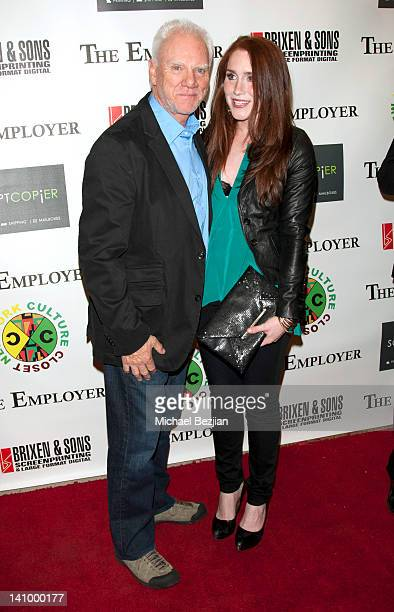 Malcolm McDowell and Paige Howard attend The Employer Los Angeles Screening at Regent Showcase Theatre on March 6 2012 in West Hollywood California