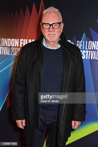 """Malcolm McDowell attends the UK Premiere of """"She Will"""" during the 65th BFI London Film Festival at the The Curzon Mayfair on October 16, 2021 in..."""