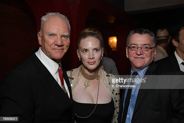 Malcolm McDowell Kelley Kuhr and Producer Andy Gould at the world premiere after party of Halloween at the Geisha House on August 23 2007 in...