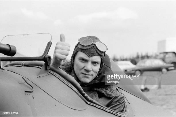 Malcolm McDowell on the set of 'Aces High', the story of the Royal Flying Corps, currently being shot at Booker Airfield, near High Wycombe, 8th...