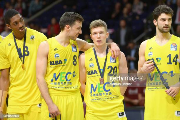 Malcolm Miller Ismet Akpinar Jannes Hundt and Engin Atsuer of Alba Berlin at the award ceremony after the game between Alba Berlin and the MHP RIESEN...