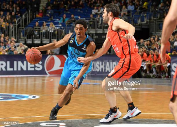 Malcolm Miller of Alba Berlin and Fernando San Emeterio of Valencia Basket Club during the game between Alba Berlin and Valencia Basket on February 8...