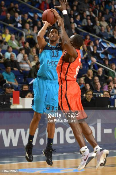 Malcolm Miller of Alba Berlin and Romain Sato of Valencia Basket Club during the game between Alba Berlin and Valencia Basket on February 8 2017 in...