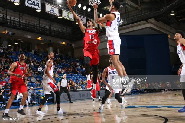 Malcolm Miller of the 905 Raptors shoots the ball against the Delaware 87ers during a GLeague at the Bob Carpenter Center in Newark Delaware on...