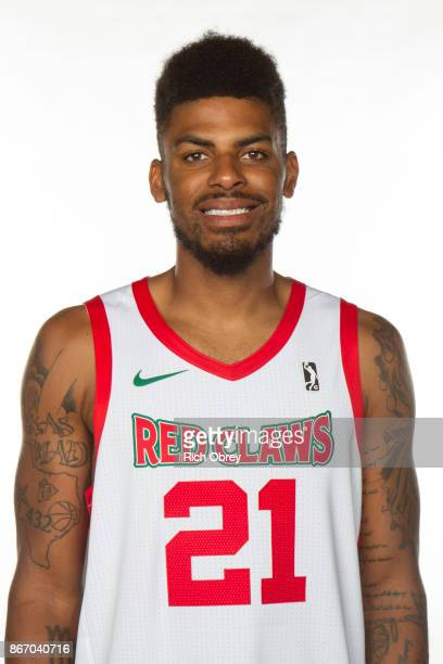 Malcolm Miller of the Maine Red Claws poses for a head during the NBA GLeague Media Day on October 26 2017 at the Portland Expo in Portland Maine...
