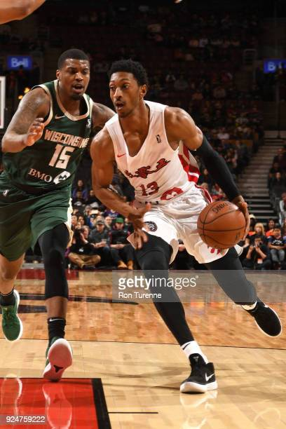 Malcolm Miller of the Raptors 905 handles the ball against the Wisconsin Herd on February 25 2018 at the Air Canada Centre in Toronto Ontario Canada...