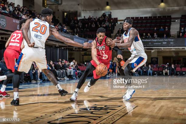 Malcolm Miller of the Raptors 905 handles the ball against the Westchester Knicks during the NBA GLeague on February 24 2018 at the Westchester...