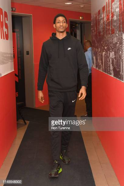Malcolm Miller of the Toronto Raptors arrives at the arena before the game against the Milwaukee Bucks in Game Four of the Eastern Conference Finals...