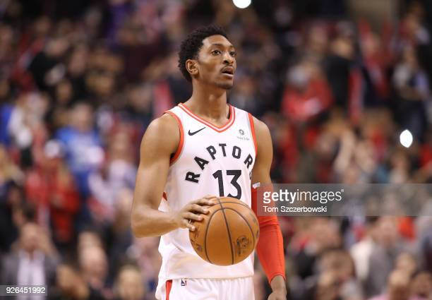 Malcolm Miller of the Toronto Raptors dribbles against the Detroit Pistons at Air Canada Centre on February 26 2018 in Toronto Canada NOTE TO USER...