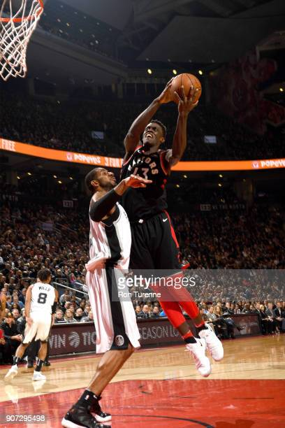 Malcolm Miller of the Toronto Raptors drives to the basket against the San Antonio Spurs on December 5 2017 at the Air Canada Centre in Toronto...