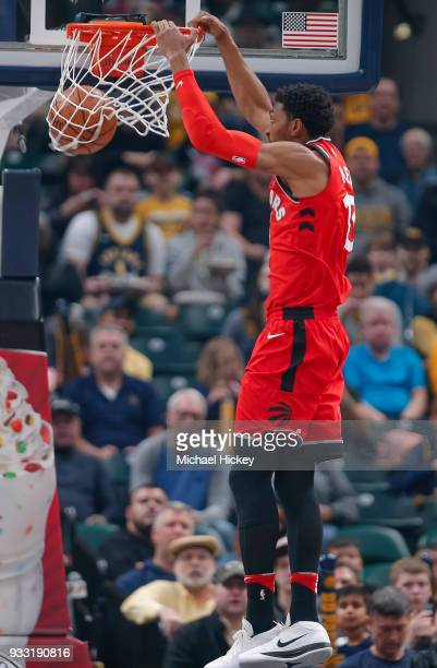 Malcolm Miller of the Toronto Raptors dunks the ball against the Indiana Pacers at Bankers Life Fieldhouse on March 15 2018 in Indianapolis Indiana...
