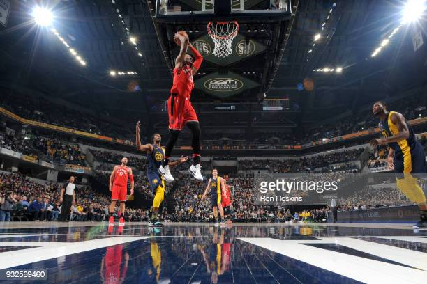 Malcolm Miller of the Toronto Raptors dunks the ball against the Indiana Pacers on March 15 2018 at Bankers Life Fieldhouse in Indianapolis Indiana...
