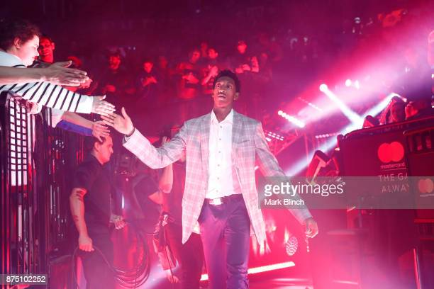 Malcolm Miller of the Toronto Raptors gets introduced before the game against the Chicago Bulls on October 19 2017 at the Air Canada Centre in...