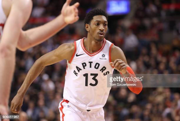 Malcolm Miller of the Toronto Raptors in action against the Detroit Pistons at Air Canada Centre on February 26 2018 in Toronto Canada NOTE TO USER...